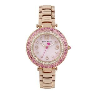 Betsey Johnson Mother of Pearl Pink Stone Watch